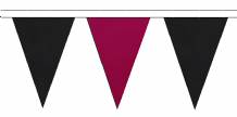 BLACK AND CLARET TRIANGULAR BUNTING - 10m / 20m / 50m LENGTHS